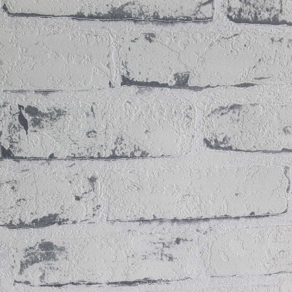 White Painted Reclaimed Brick Effect Wallpaper | White & Grey - Your 4 Walls