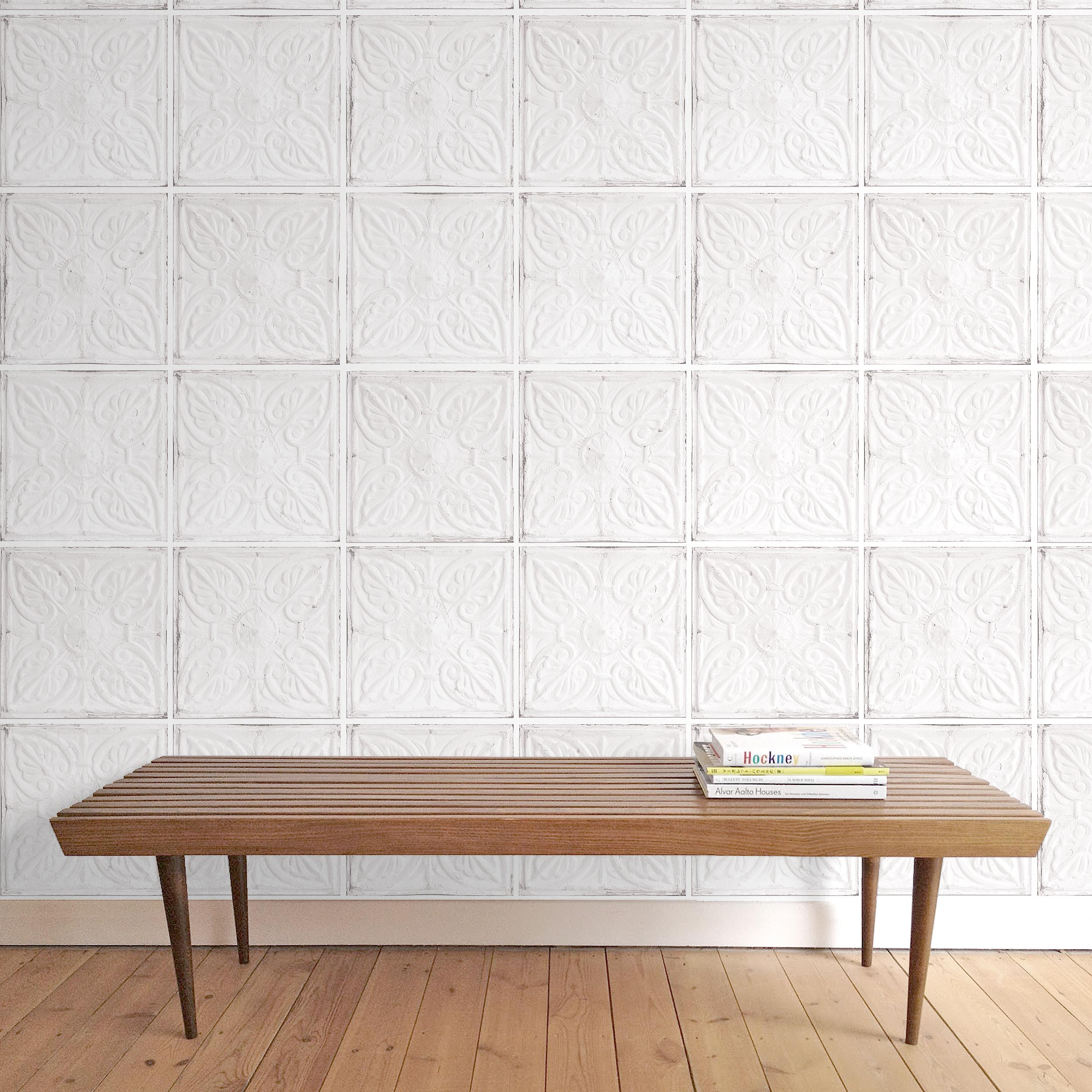 Exclusive 'Noho' Brooklyn Tin Tile Effect Wallpaper | Off White & Grey