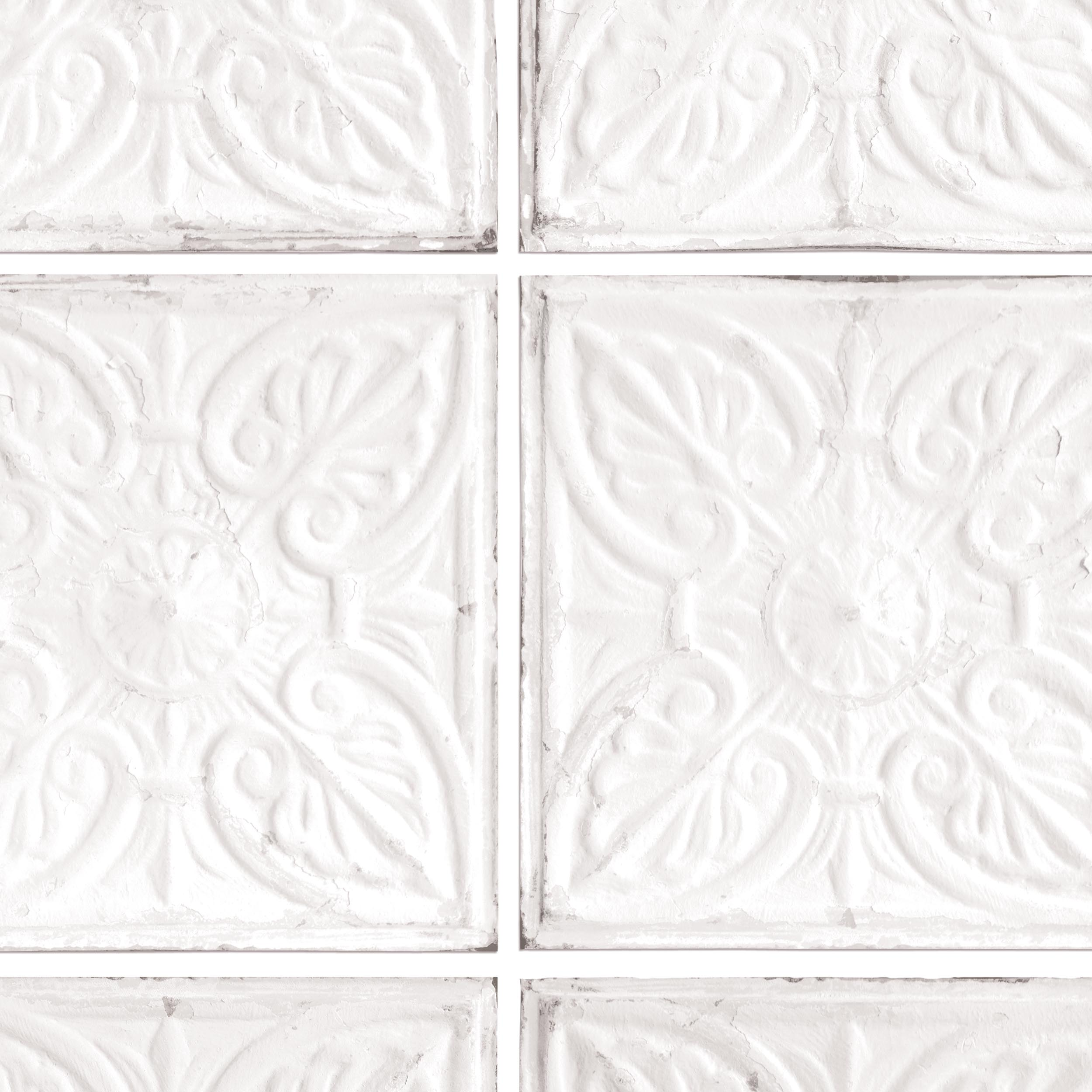 Exclusive 39 noho 39 brooklyn tin tile effect wallpaper off white grey your 4 walls - American tin tiles wallpaper ...