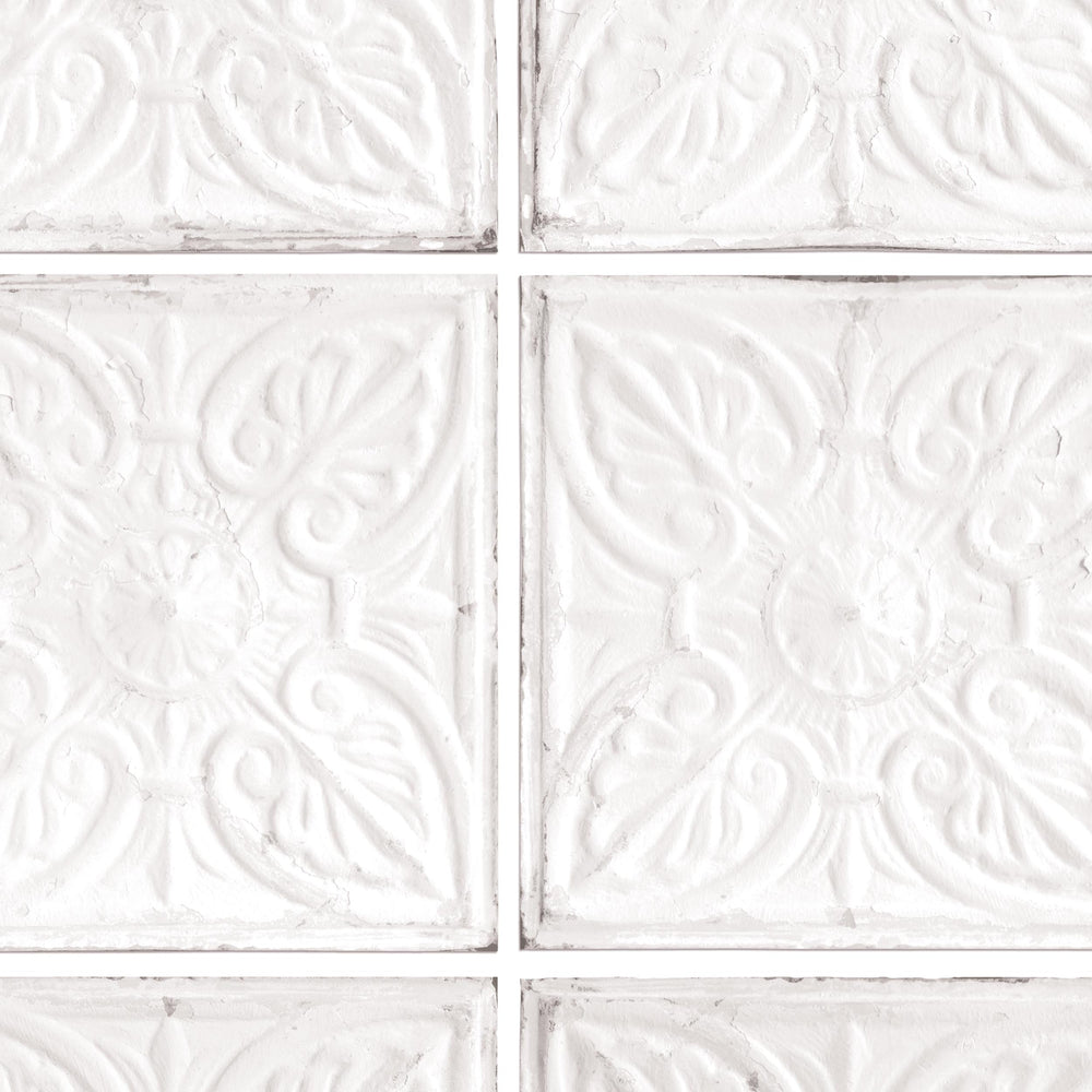 Exclusive 'Noho' Brooklyn Tin Tile Effect Wallpaper | Off White & Grey - Your 4 Walls
