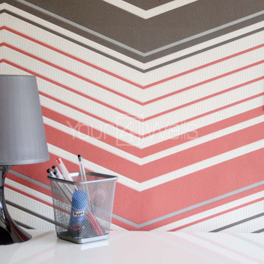 SALE Zig Zag Geometric Paco Wallpaper | Orange, Brown & Cream 3 Rolls for this one price