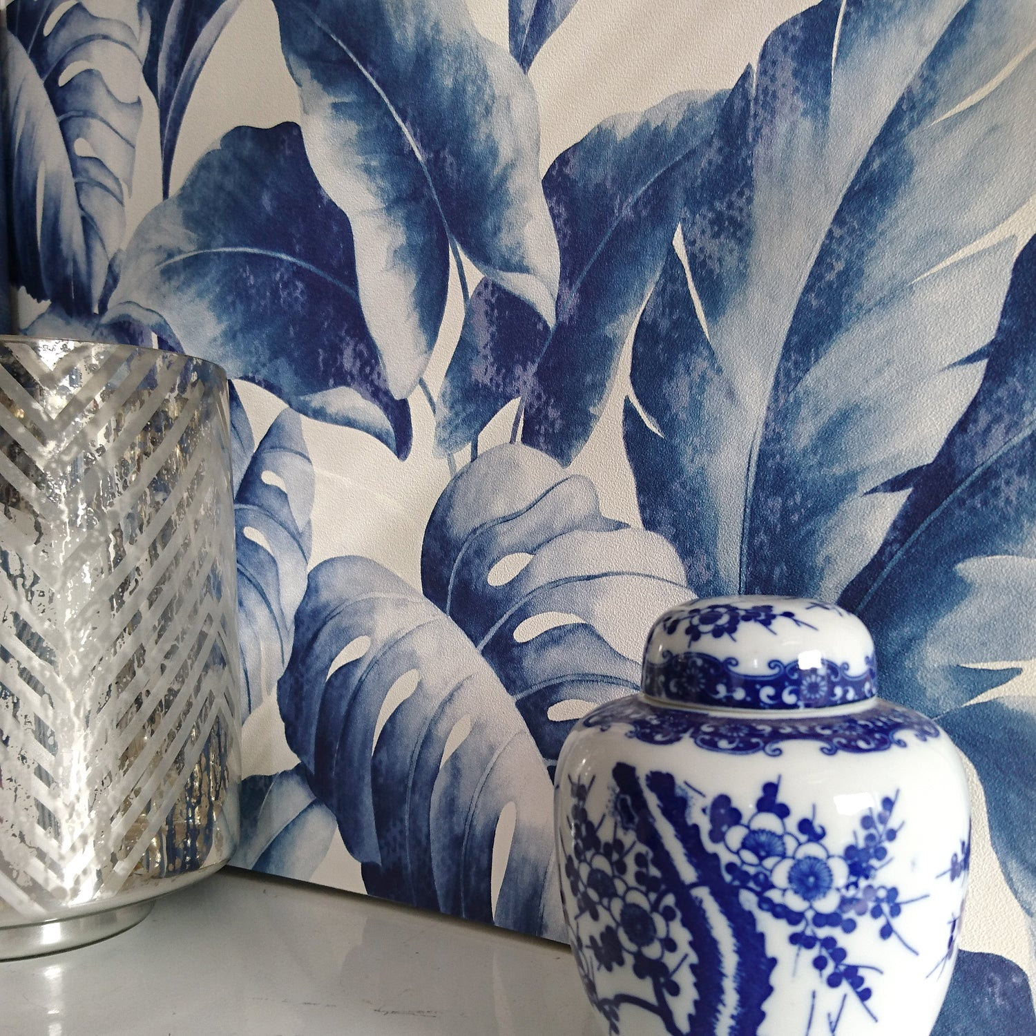 'Banana Leaf' Tree Design Wallpaper | Blue & Navy Tones - Your 4 Walls