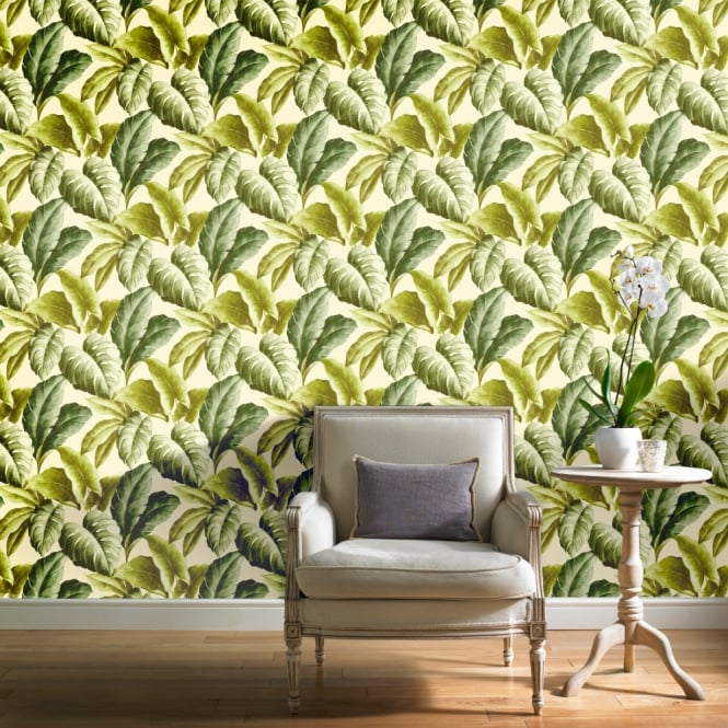 'Banana Leaf' Tree Design Wallpaper | Natural Green Off White Tones