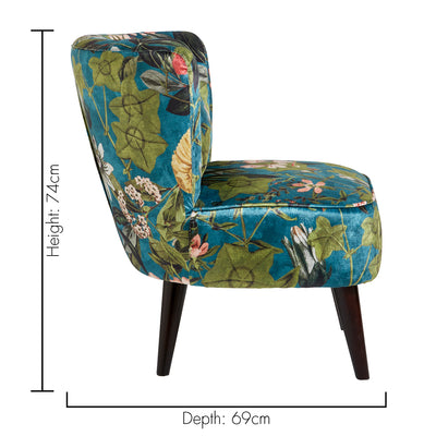 Lexi Chair Designer Accent Chair in Floral Passiflora Kingfisher Green - Your 4 Walls