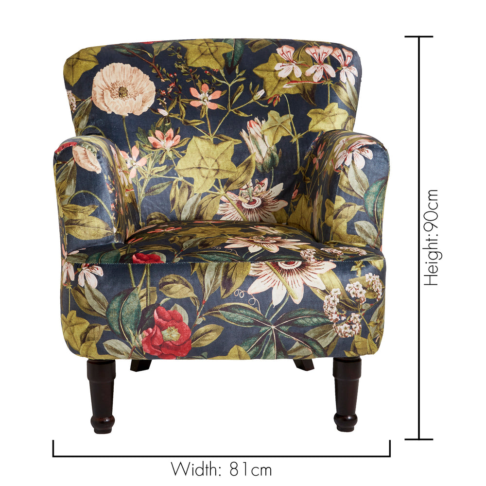 Dalston Designer Accent Chair – Passiflora Floral Midnight Blue - Your 4 Walls