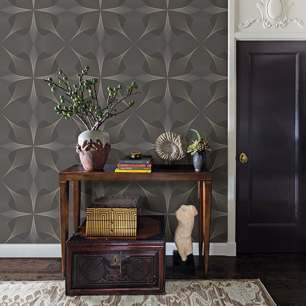 Spiro Geometric Wallpaper in Grey/Brown, Silver & Gold - Your 4 Walls