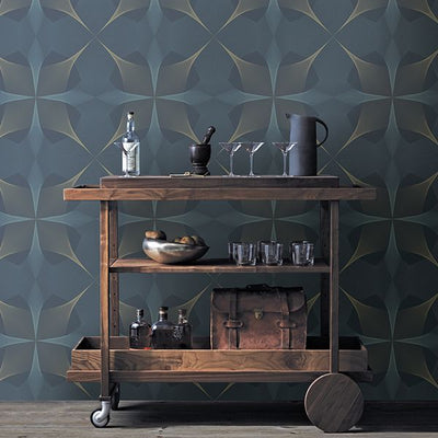 Spiro Geometric Wallpaper in Blue & Gold