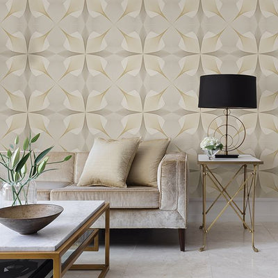 Spiro Geometric Wallpaper in Gold & Off White - Your 4 Walls