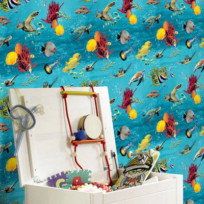 'Under the Sea' Turtle, Tropical Fish, Ocean Children's Wallpaper in Blue & Yellow - Your 4 Walls