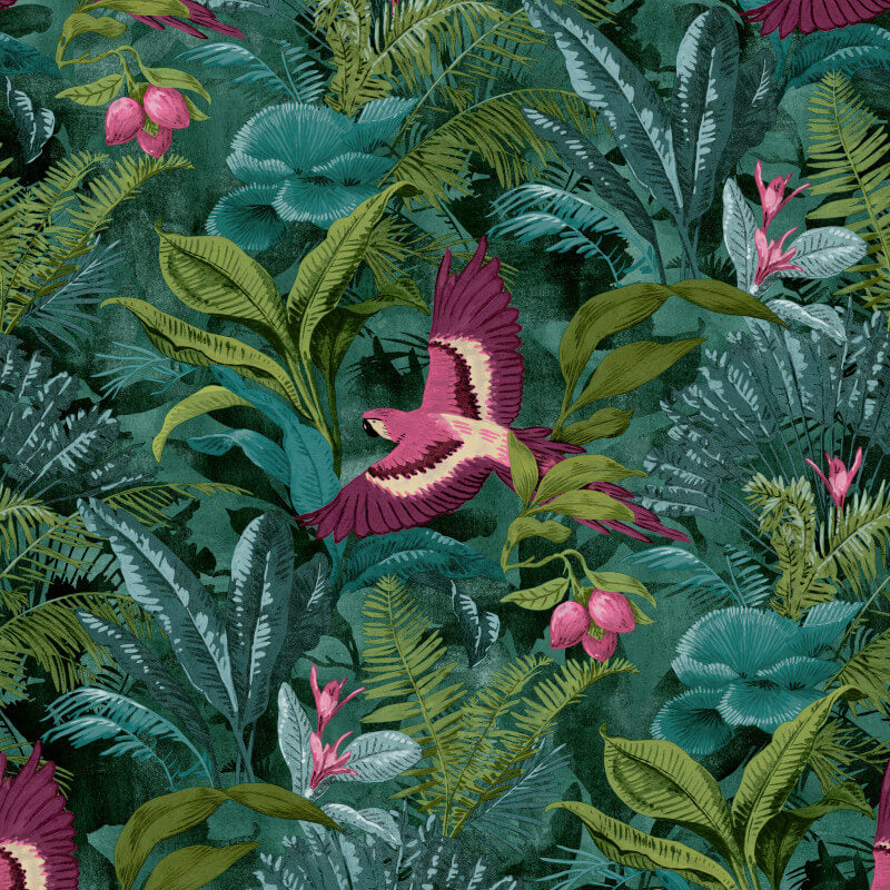Jungle Palm and Parrot Bird Wallpaper in Green and Pink - Your 4 Walls