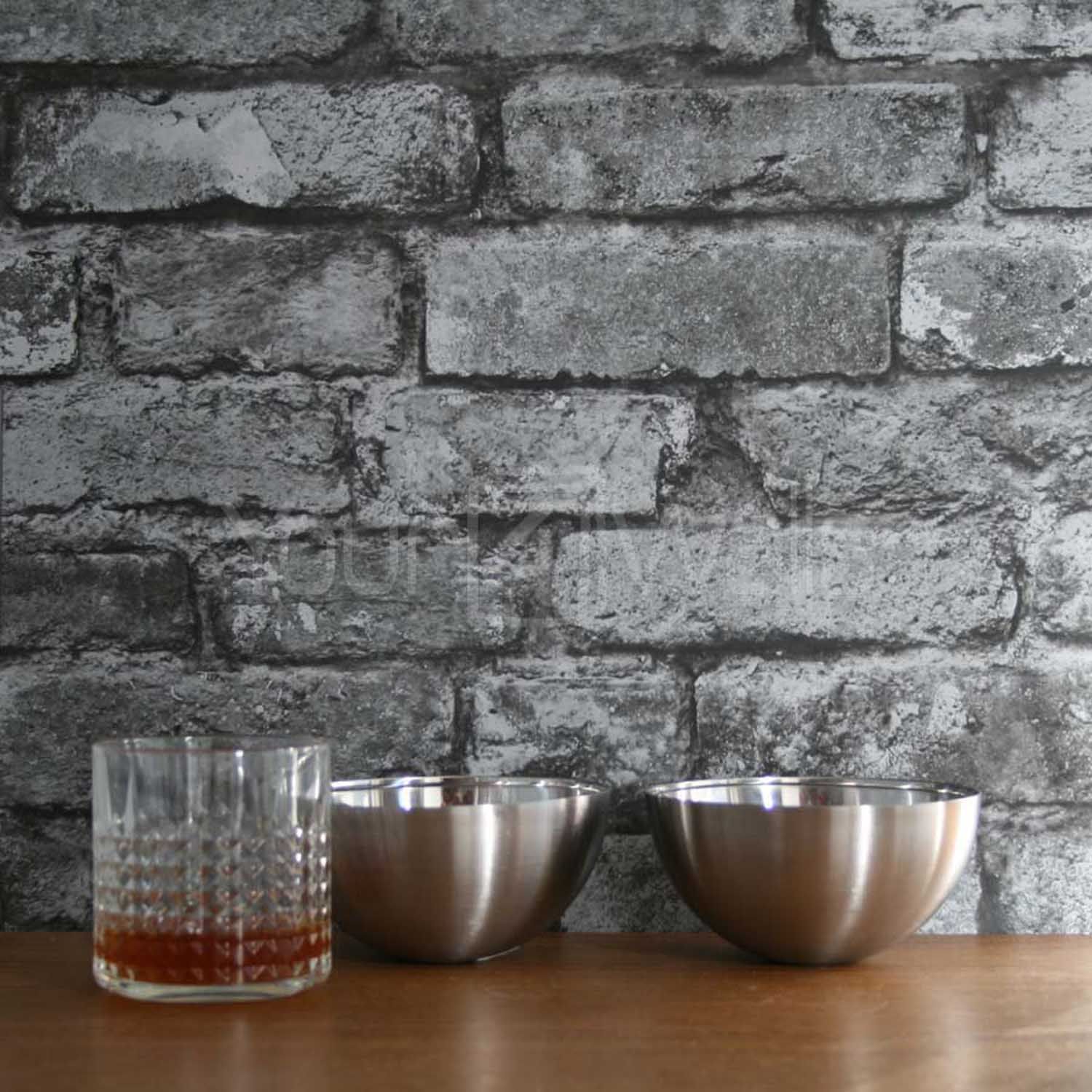 Urban Brick Wallpaper | Silver & Charcoal
