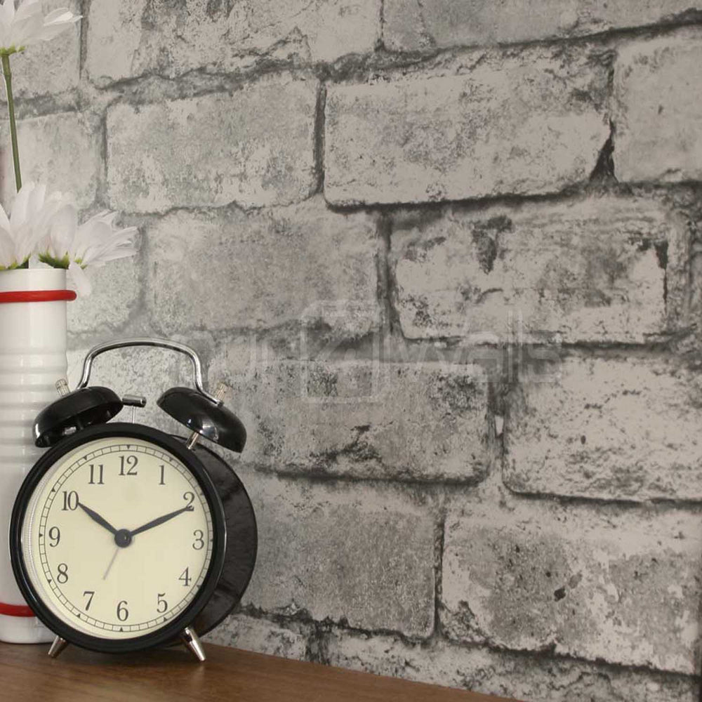 Urban Brick Wallpaper  | White, Silver & Grey