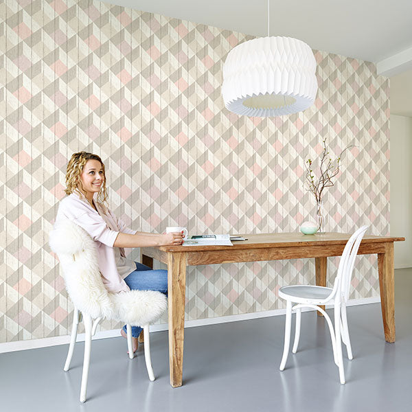 Geometric Wood Effect Textured Wallpaper | Pink, Beige & White
