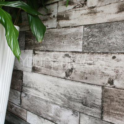 Rustic Planks Wood Effect Textured Wallpaper in Grey Tones - Your 4 Walls