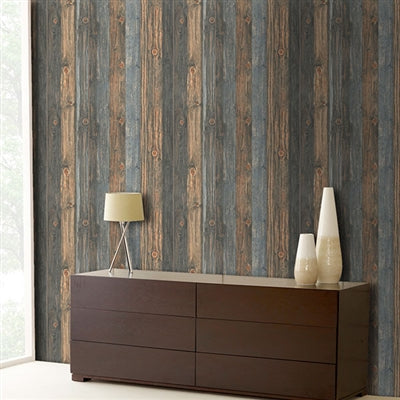 Reclaimed Wood Effect Wallpaper | Charcoal & Blue