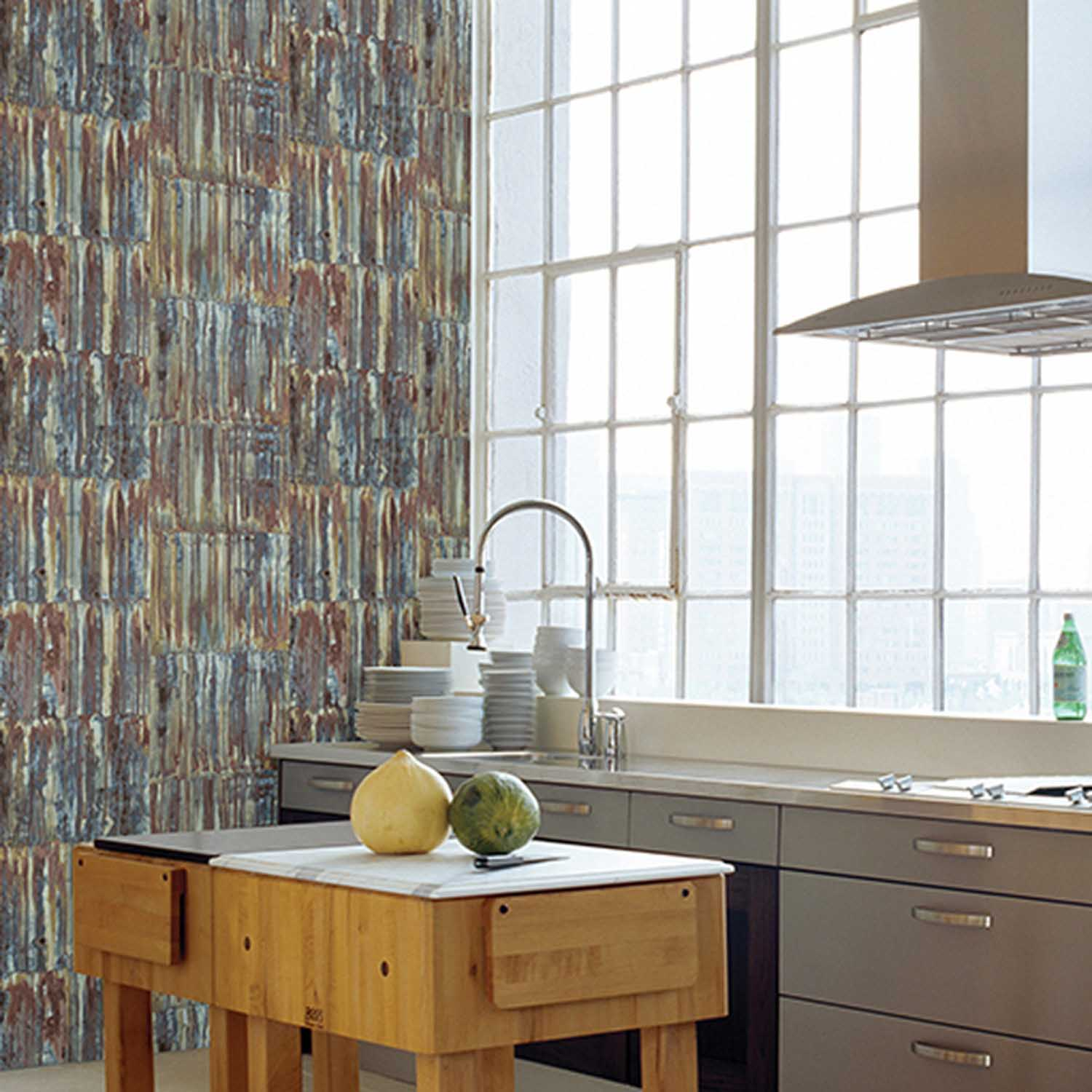 Rusted Metallic Corrugated Panel Effect Wallpaper | Brown and ...