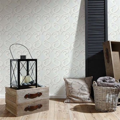 SALE LAST FEW Large Damask Wallpaper Textured Wallpaper | Off White, Beige & Cream - Your 4 Walls