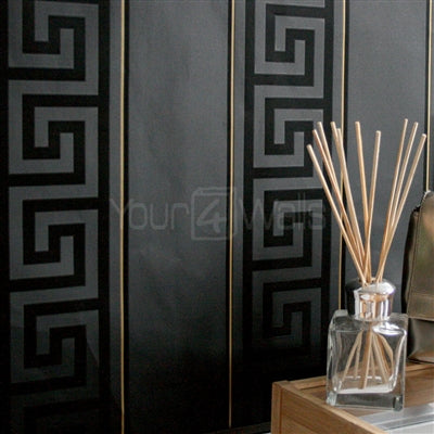 Versace Greek Key Stripe Wallpaper  | Black & Gold