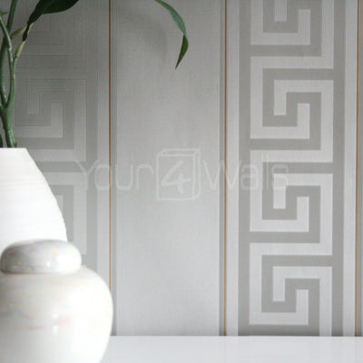 Versace Greek Key Stripe Wallpaper | Grey & Gold