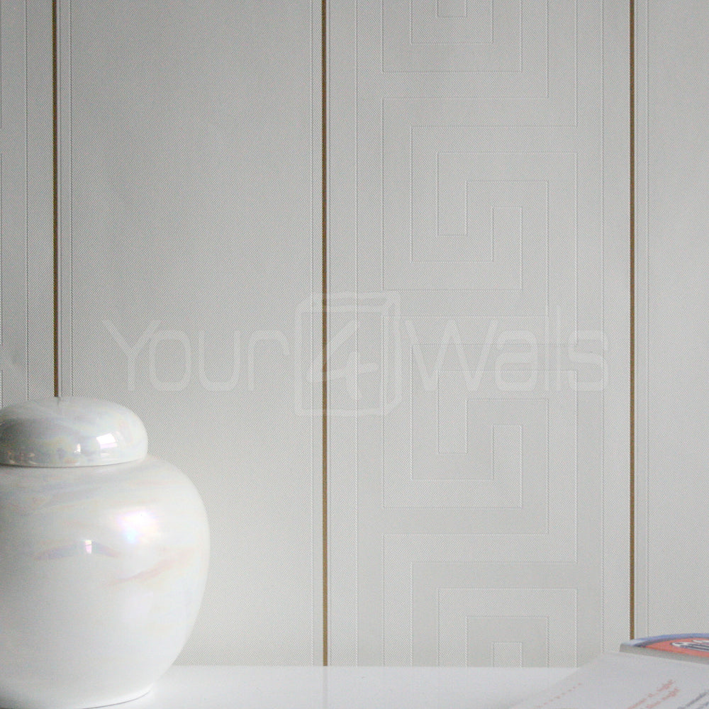 Versace Greek Key Stripe Wallpaper | Off White & Gold - Your 4 Walls