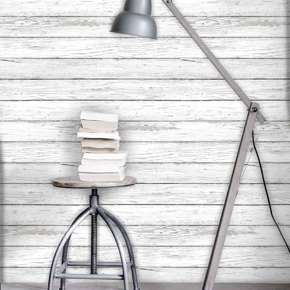 Scandi Peeling Planks White Washed Wood Effect Wallpaper | Off White
