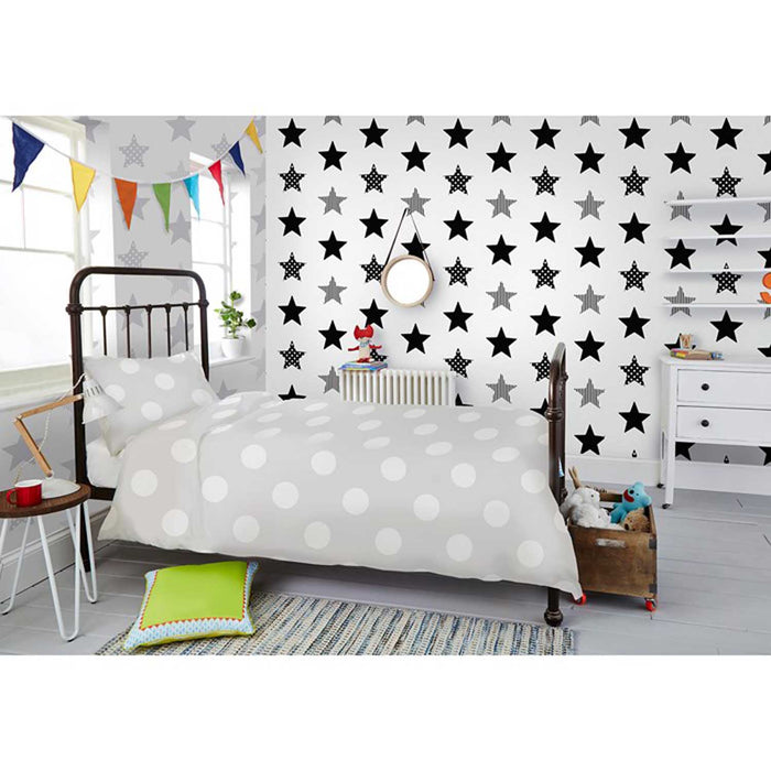Stunning Star Motif Childrens  Wallpaper | Silver & White