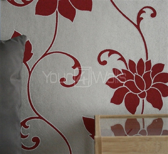 SALE Efflorescent Floral Luxe Wallpaper | Red & Latte
