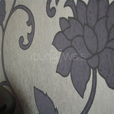 SALE Efflorescent Floral Luxe Wallpaper | Purple & Metallic Brown / Latte