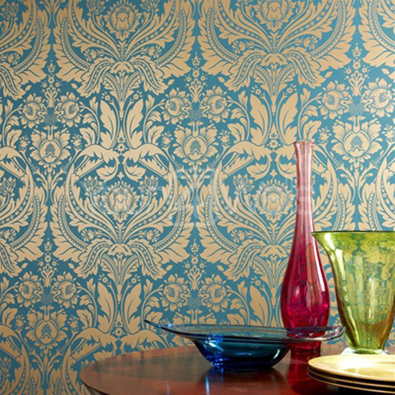 Desire Damask Teal and Gold Wallpaper LAST ROLL - Your 4 Walls