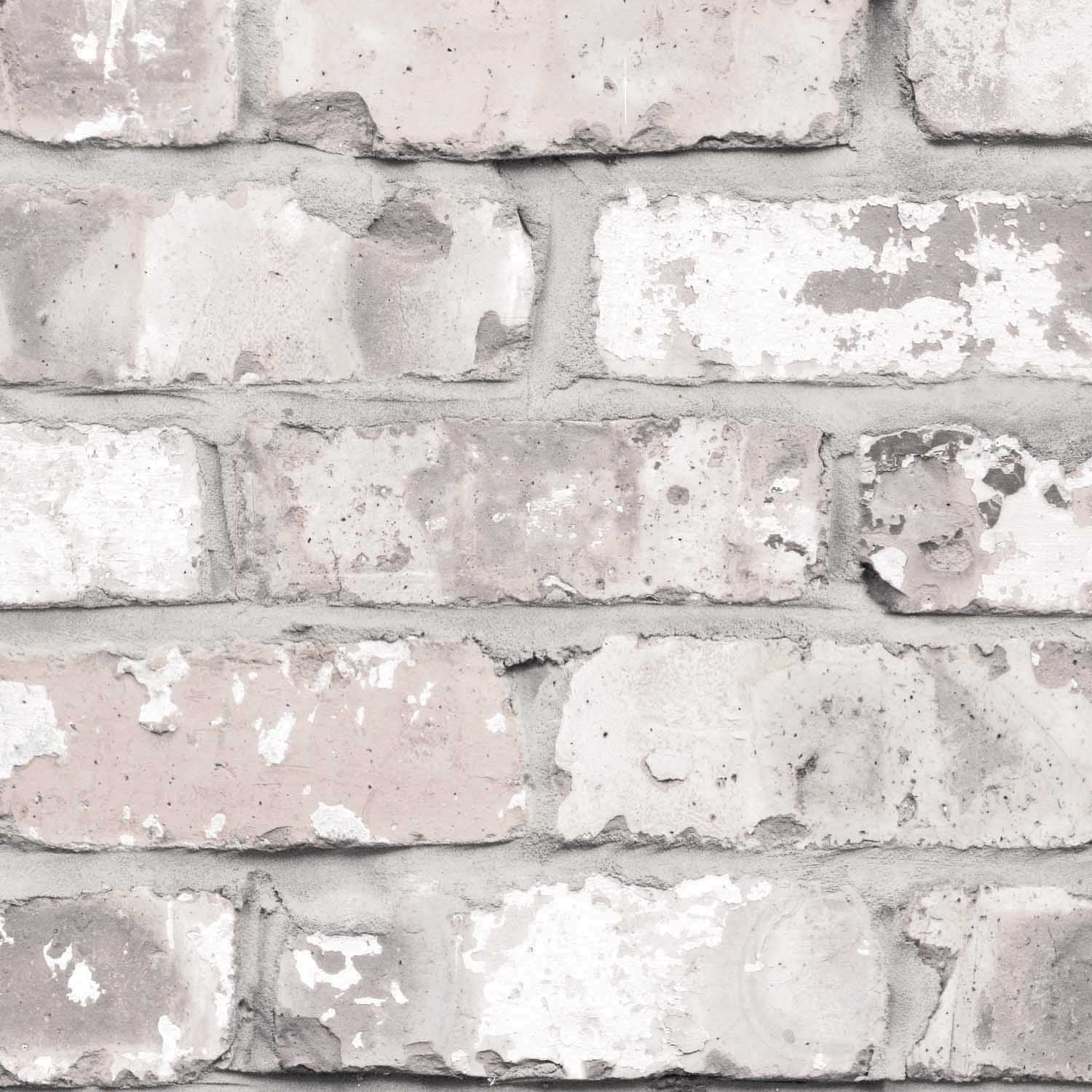 Irwell Brick Effect Wallpaper | White/Grey & Cream