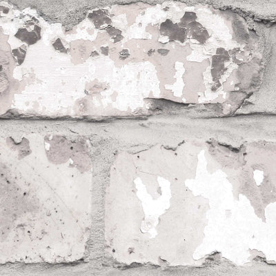 Irwell White Grey and Cream Brick Effect Wallpaper - Your 4 Walls