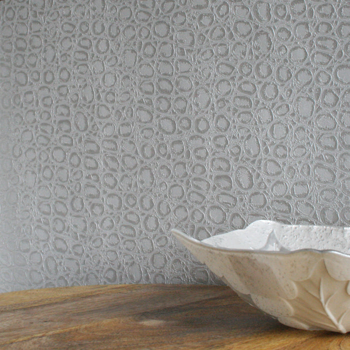 Alligator Skin Effect Wallpaper | Silver & Shimmer