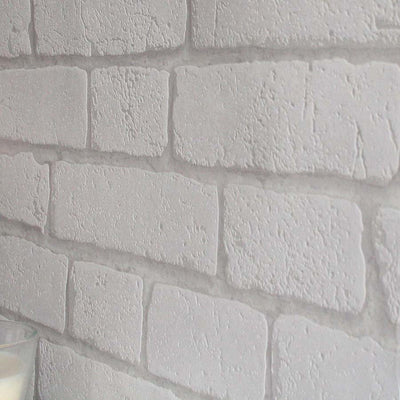 Koziel Textured Brick Effect Wallpaper | White & Grey - Your 4 Walls