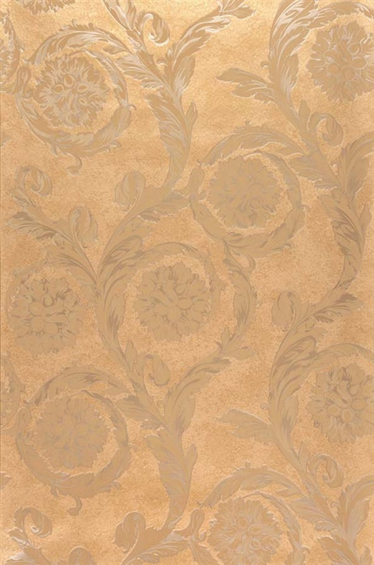 Versace Large Floral Scroll Wallpaper | Sandy Beige