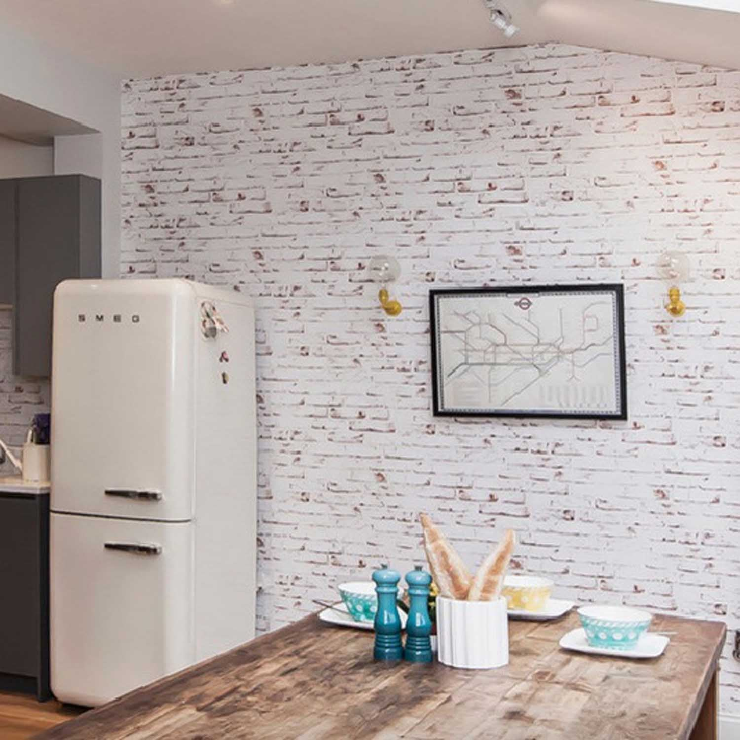 White Painted Reclaimed Brick Effect Wallpaper | White & Brown ...