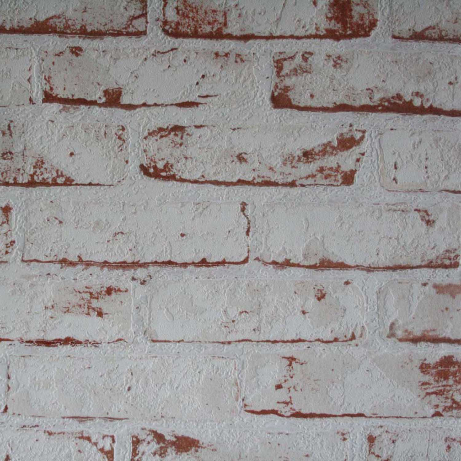 White Painted Reclaimed Brick Effect Wallpaper White Amp Brown