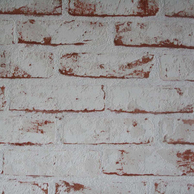 White Painted Reclaimed Brick Effect Wallpaper | White & Brown - Your 4 Walls