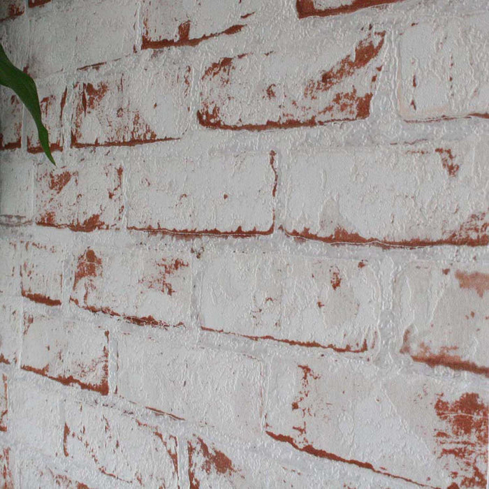 White Painted Reclaimed Brick Effect Wallpaper | White & Brown