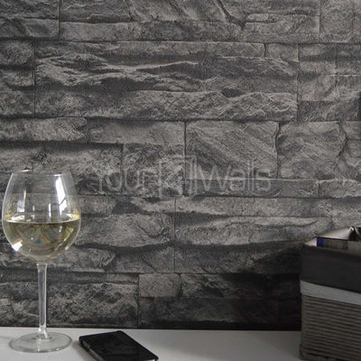 Stoned Effect Textured Wallpaper | Charcoal/Black - Your 4 Walls
