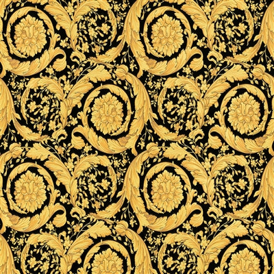 Versace Floral Scroll Wallpaper | Gold and Black