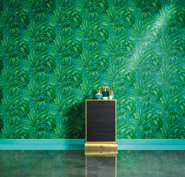 Versace 'Palm Leaf' Designer Leaf/Tree Wallpaper | Green & Turqoiuse