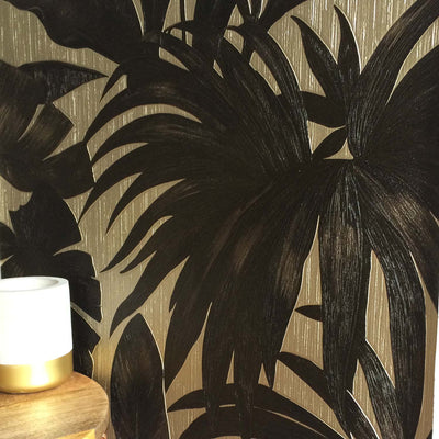 Versace 'Palm Leaf' Designer Leaf/Tree Wallpaper | Black & Gold - Your 4 Walls