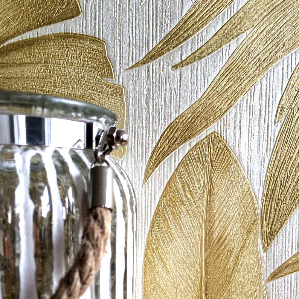 Versace 'Palm Leaf' Designer Leaf/Tree Wallpaper  | Gold & Pearl White