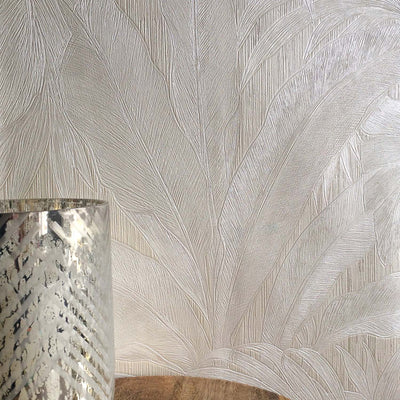 Versace 'Palm Leaf' Designer Leaf/Tree Wallpaper | Pearl & Pearl White - Your 4 Walls
