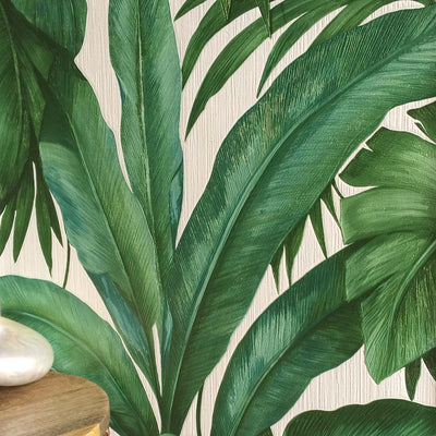 Versace 'Palm Leaf' Designer Leaf/Tree Wallpaper  | Green & Pearl White - Your 4 Walls