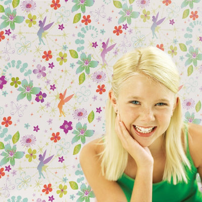 LAST ROLL Tinkerbell Children's Wallpaper | Purple, Green & White