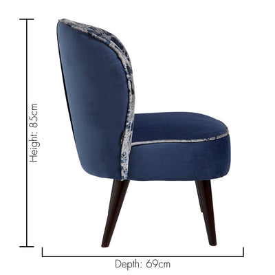 Ascot Floral Designer Accent Chair in Tropicale Palm Midnight Blue - Your 4 Walls