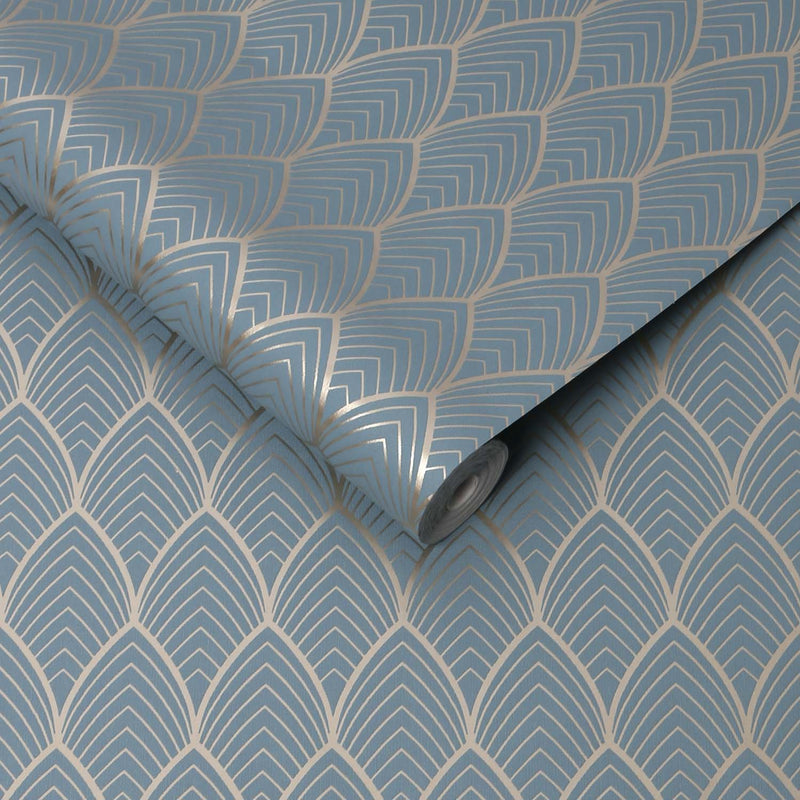 Art Deco Vector Tile Effect Geometric Wallpaper in Duck Egg Blue and Gold - Your 4 Walls