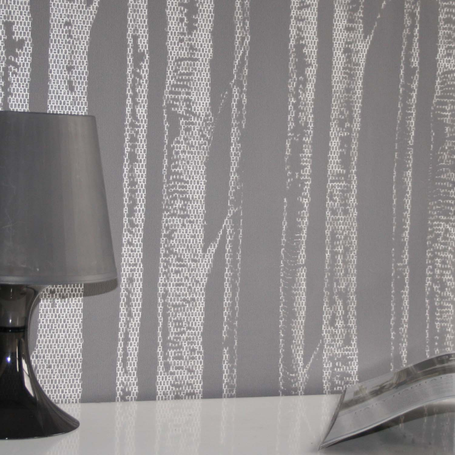 'Woods' Tree Motif  Wallpaper | Dark Grey & Light reflecting White