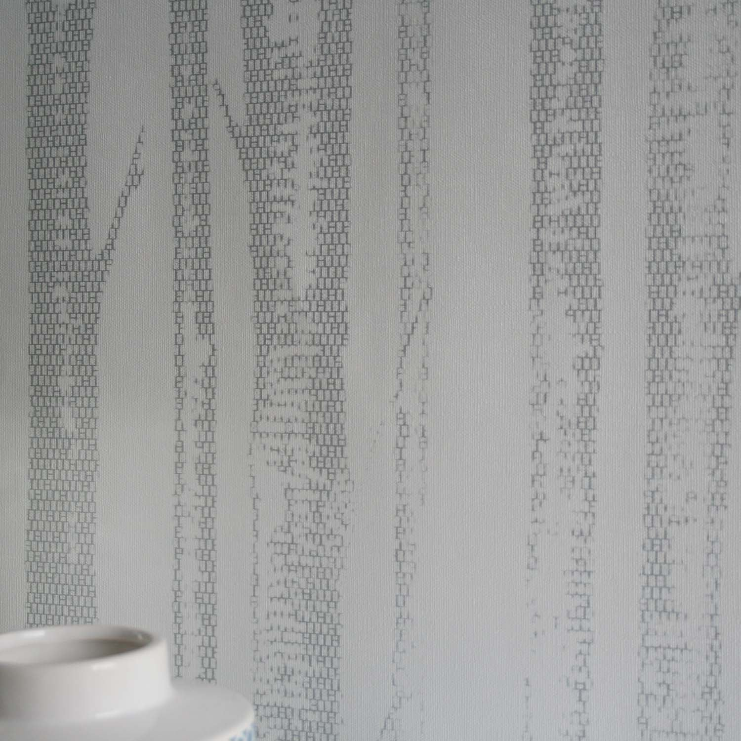 'Woods' Tree Motif  Wallpaper | White & Silver
